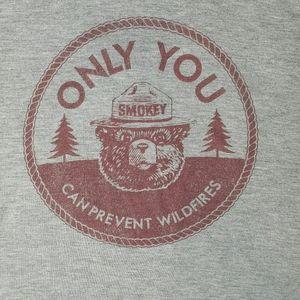 Smokey The Bear Only You Gray T Shirt Size Medium